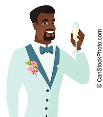 African-american groom holding glass of champagne. -...