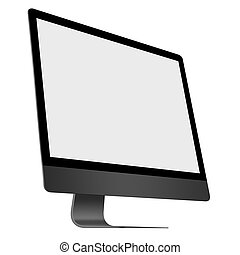 3D illustration Realistic black computer monitor on white...
