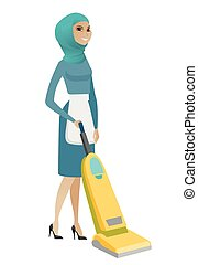 Muslim chambermaid cleaning floor with a vacuum.