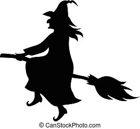 Witch on broom fly silhouette