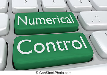 Numerical Control concept - 3D illustration of computer...