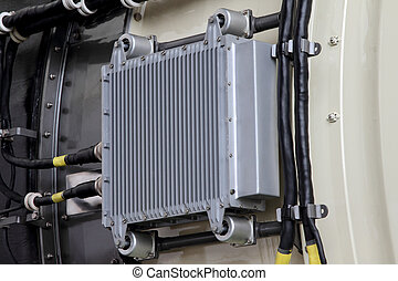 The heat exchanger on the casing of the aircraft engine. -...