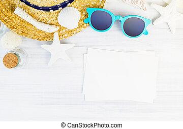 Summer Beach accessories (White sunglasses,starfish,straw...
