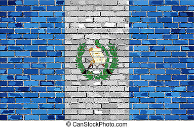 Flag of Guatemala on a brick wall with effect