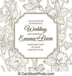 Wedding invitation card daffodil narcissus flowers