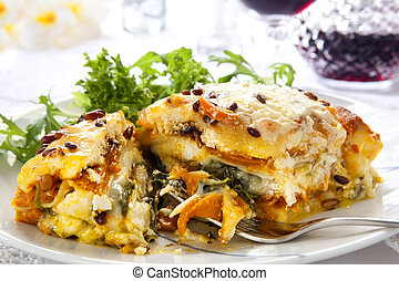 Lasagne - Vegetarian lasagne topped with toasted pine nuts...