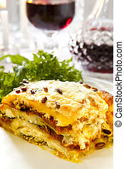 Vegetarian Lasagne - Vegetarian lasagne topped with toasted...