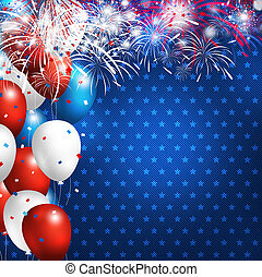 4 july happy independence day design of balloon with firework on blue jeans background