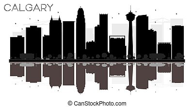 Calgary City skyline black and white silhouette with reflections.