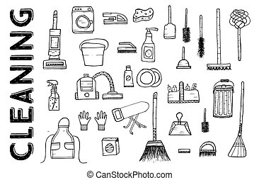 Cleaning Tools. Vector Illustration.