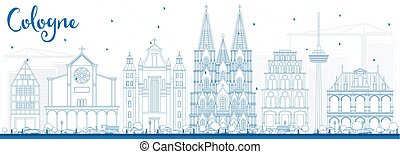 Outline Cologne Skyline with Blue Buildings.