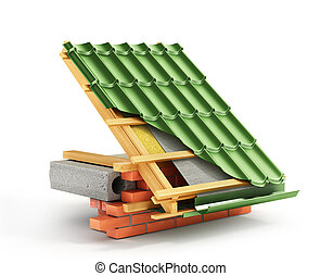 Roof installation. Metal tile coating on the roof with technical details and layers of construction. 3d illustration