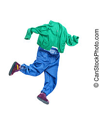 Running boy.White background on which clothes are laid out...