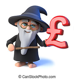 3d Funny cartoon wizard magician points to a UK Pounds...