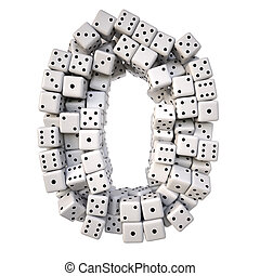 digits made from white dice. Isolated on white. 3D...