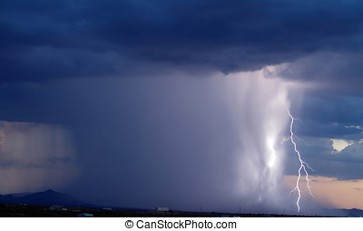 Arizona Monsoon Storm 2006d - A column of heavy rain during...