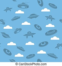 Space Ship Silhouettes Seamless Pattern