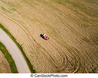 aerial view, Tractor and Seeder a Field in summer