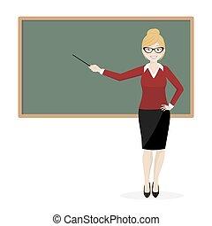 The blond teacher explaining at the blackboard
