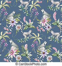 Tropical wildlife pattern - Beautiful seamless pattern with...
