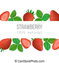 Ripe Strawberry Horizontal label with text 100 percent...