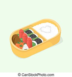 cute bento. Japanese lunch box. Funny cartoon food....
