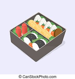 ute bento. Japanese lunch box. Funny cartoon food. Isometric...