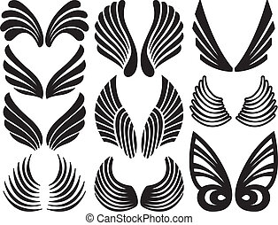Stylized Angel Wings - Ten Sets of Black Stylized Angel...