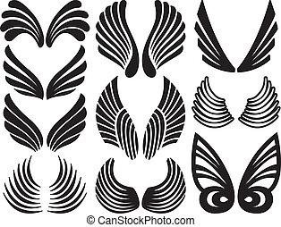 Stylized Angel Wings - Ten Sets of Black Stylized Angel...