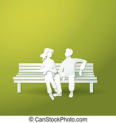 Couple man and woman sitting on the bench.