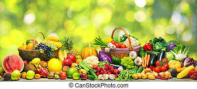 Vegetables and fruits background - Fresh vegetables and...