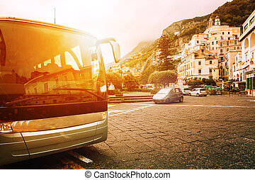 tourist bus parking on town square of amalfi coast most popular traveing destination in south italy