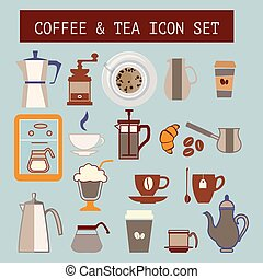 Set of vector flat tea and coffee icons