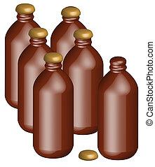 six pack of stubby beer bottles