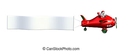 Santa Flying Plane with Banner - 3D render of Santa Claus...