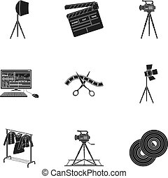 A movie camera, a floodlight, a chromakey and other...