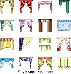 Different kinds of curtains. Curtains set collection icons in cartoon style vector symbol stock illustration web.