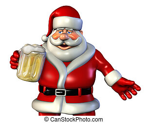 Santa Drinking Beer - 3D render of Santa Claus enjoying a...