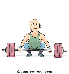 funny cartoon weightlifter - Funny cartoon weightlifter on...