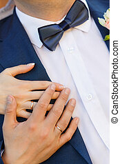 Close-up of hands with rings
