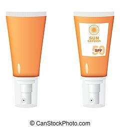 Sunscreen vector illustration - vector orange bottle of...