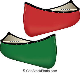 Two Canoes, one red and one green