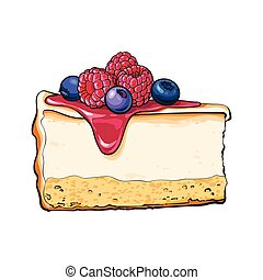 Hand drawn piece of cheesecake decorated with fresh berries,...