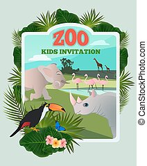 Invitation for kids party. Vector poster template with wild funny animals and place for your text