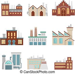 Factory illustrations set. Modern industrial buildings set isolate on white