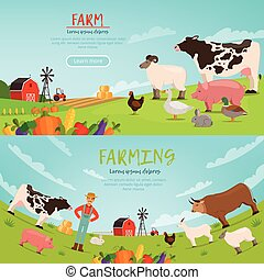 Agribusiness vector illustrations. Banners with farm...