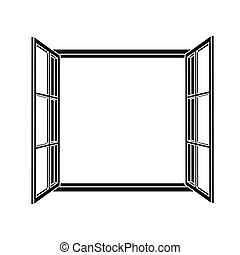 Open window frame icon. Add your own image or text. Vector...