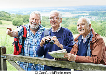 Group Of Senior Male Friends Hiking In Countryside