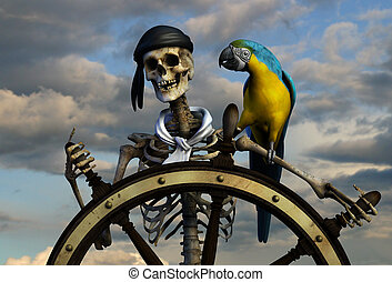 Skeleton Pirate with Sky - 3D render of a skeleton pirate....