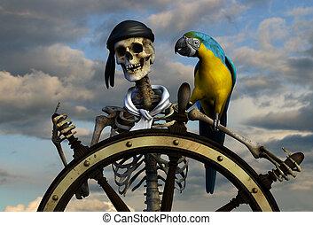 Esqueleto, pirata, cielo
